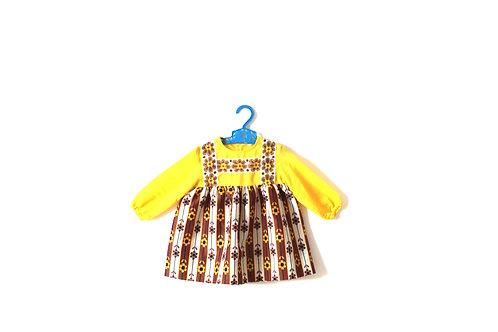 Vintage 1960's Mustard Brown Floral Dress 1-2 Years