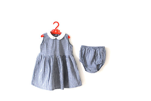 Vintage Floral Navy Gingham Outfit 18 Months