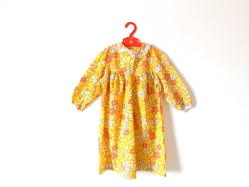 Vintage Girls Yellow Summer Floral Dress 3-4 Years
