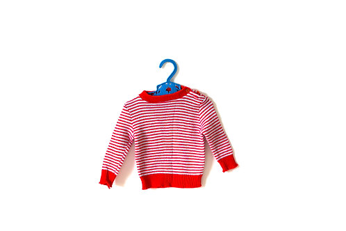 Vintage 70's Striped Red  Knitted Top Jumper 6 Months