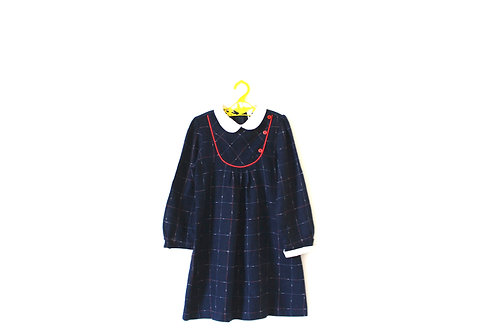 Vintage French Blue Winter Checked 60's Dress 5-6 Years