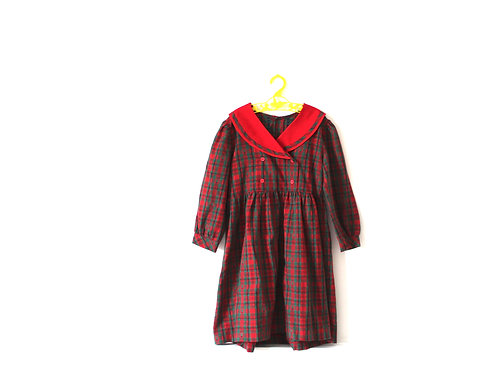 Vintage Checked Tartan Christmas Dress Red Green 5-6 Years