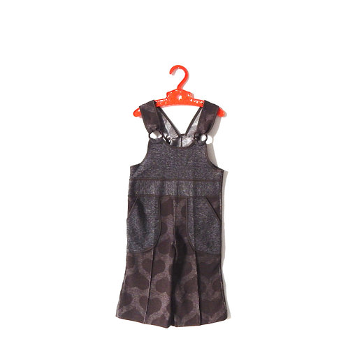 Vintage Brown Heart Dungarees 1970's 2 Years