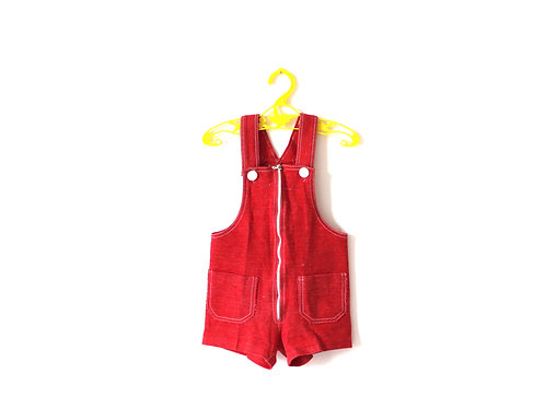 Vintage French Red Romper 1970's 12 Months