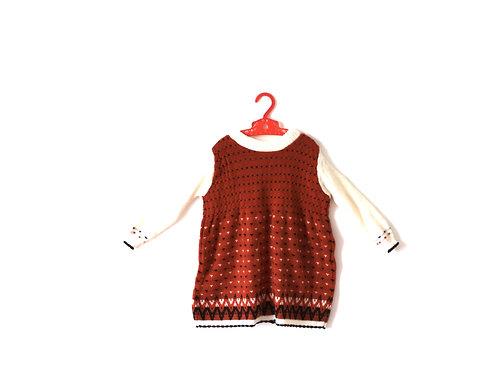 Vintage Knit 1970's Orange Dress 3 Years
