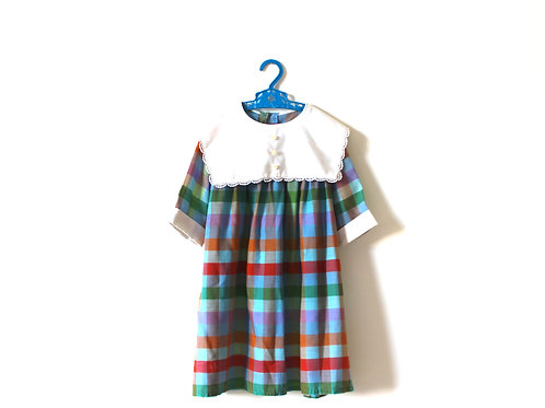 Vintage 1960's Multicoloured Checked White Collared Dress 6 Years