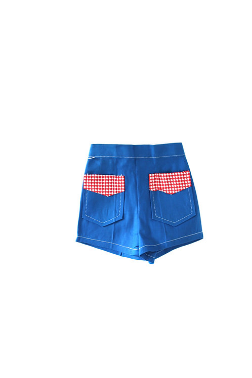 Vintage Blue 1960's Children's 1-2 Years Unisex Shorts with Red Check Pattern