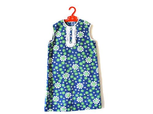 Vintage Girls Blue Flowers 1960's Dress 6-7 Years