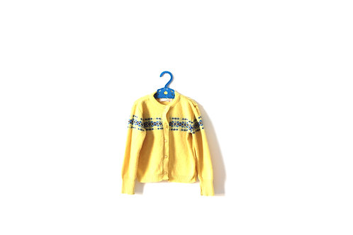 Vintage 1950's Yellow Knitted Jumper Childrens Girls Boys 2-3 Years