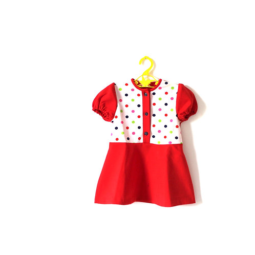 Vintage Red French Polka Dot Dress 1-2 Years