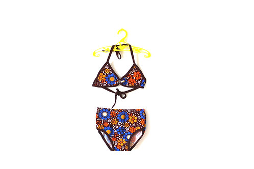 Vintage 1960's Swimsuit Bikini Brown with Blue Pattern 4-5 Years