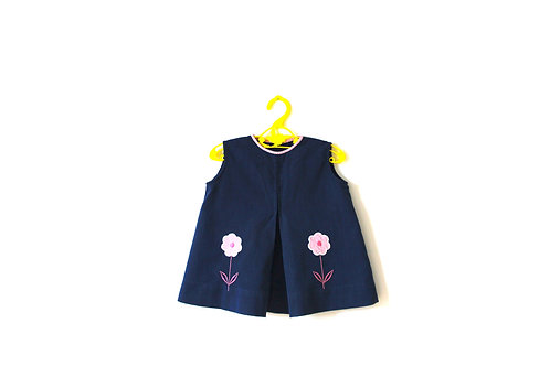 Vintage 1960's Floral Pink Navy Dress 1-2 Years