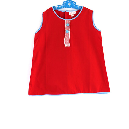 Vintage 1960's 2-3 Years Red Girls Dress Mod with Blue Button Spring Summer