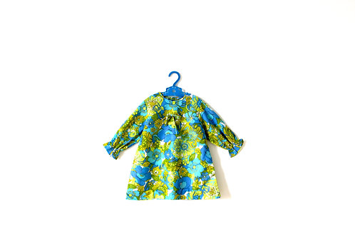 Vintage Green 1960's Dress Floral Pattern 3-4 Years