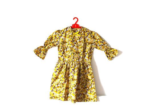 Vintage 1970's Yellow Mustard Dress Age 9