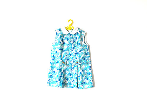 Vintage 1960's Blue Summer Diamond Mod Shift Girls Dress 6-7 Years