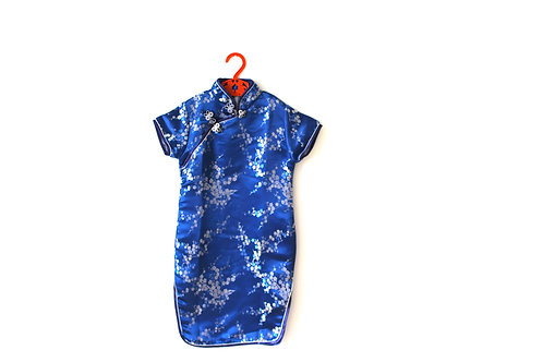 Vintage Oriental Blue Blossom Dress 3-4 Years