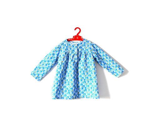 Vintage Blue Floral Dress Lightweight Cord 3-4 Yrs