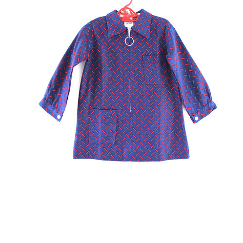 Vintage Girls 3-4 Years Navy and Red 1960's Geometric Patterned Dress