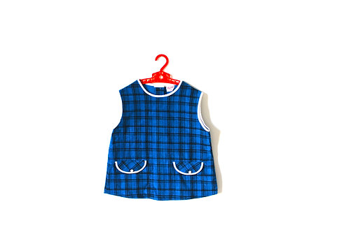 Vintage Blue Checked Mod Dress 1970's 2-3 Years