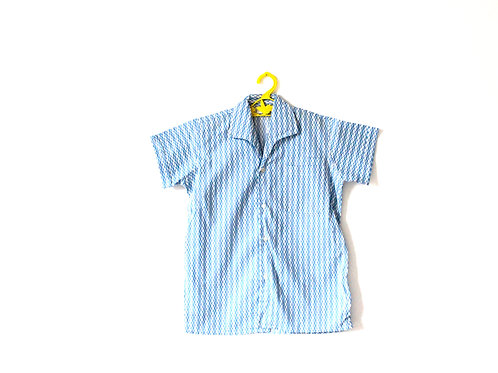 Vintage 1960's Blue Patterned Cotton Shirt 6 Years