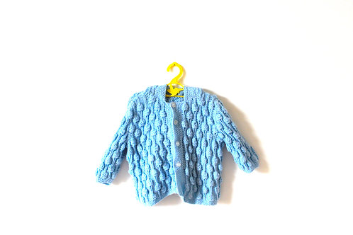 Vintage Pale Blue Bobble Popcorn Cardigan 2-3 Years
