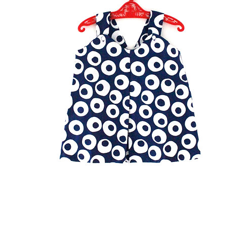 Vintage Girls 60's 1-2 Years Navy and White Circle Cut Out Dress Spring Summer