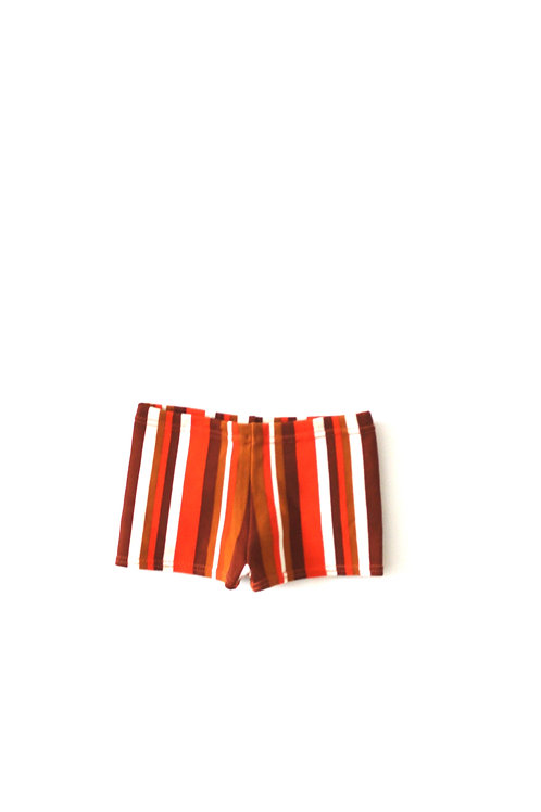 Vintage Mothercare 1970's Boys Orange Striped Trunks Swimming Summer 9 Months
