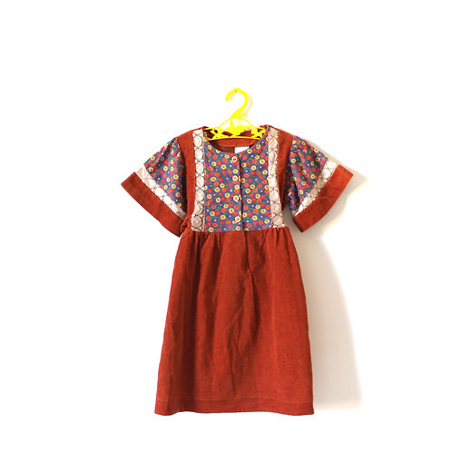 Vintage 1970's Orange Rust Brown Lace Cord French Dress 4-5 Years