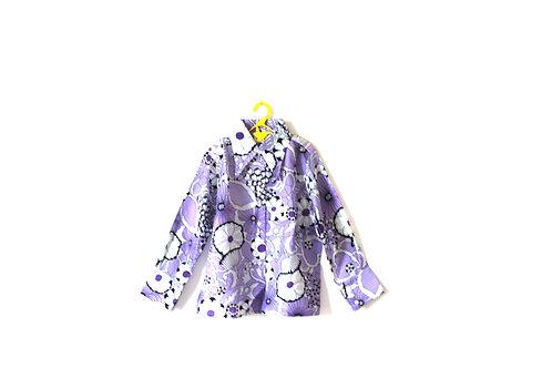 Vintage 1960's Purple Floral Spring Summer Light Girls Blouse 6-7 Years