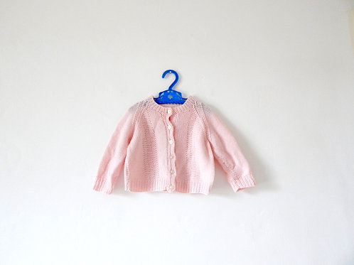 Vintage Baby Pale Pink Knitted Cardigan 6 Months