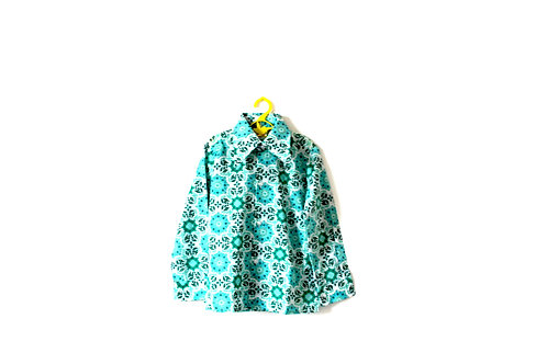 Vintage Teal Green Paisley Floral 1960's Blouse Spring Summer 6 Years
