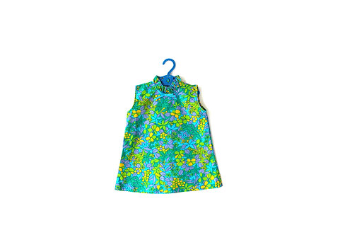 Vintage Girls 1960's Floral Groovy Green Dress 2-3 Years