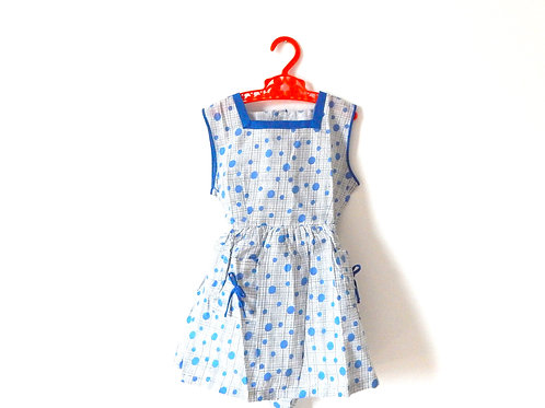 Vintage Blue Girls Summer Dress Spots  3-4 Years