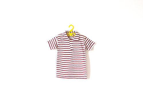 Vintage 1960's Red Zigzag Patterned Polo T-shirt with Collar 4-5 Years