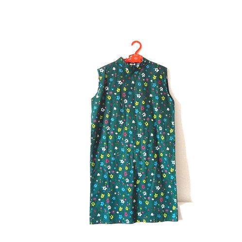 Vintage Girls Floral Green 60's Dress 7-8 Years