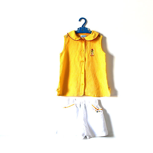 Vintage Yellow Girls Gingham Summer Outfit 5 Years