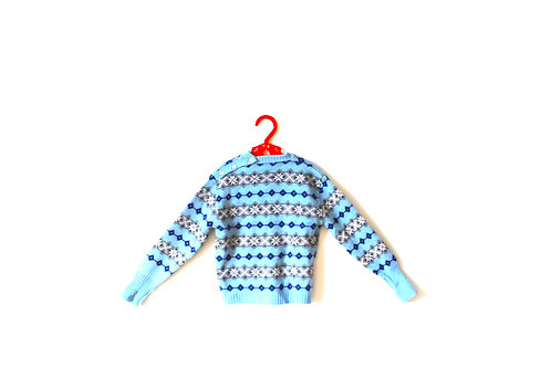Vintage Nordic 1960's Blue Patterned Knitted Jumper 1-2 Years