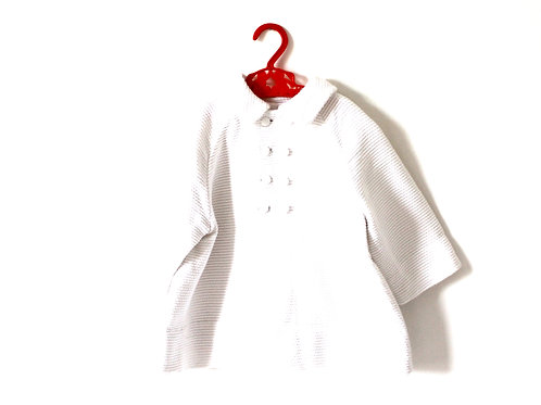 Vintage Traditional 1960's White Textured Peacoat 3-4 Years