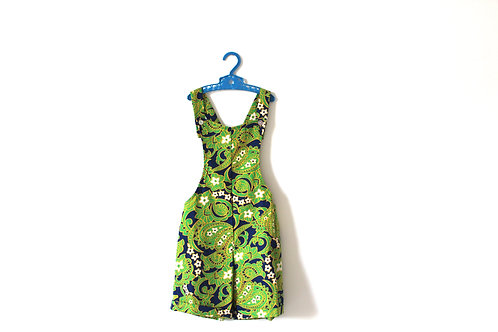 Vintage Green Girls Paisley Mod Summer Dungarees Romper 6 Years