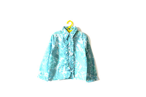 Vintage Frilly  Cotton 1960's Floral Pale Blue Blouse 5-6 Years Spring Summer