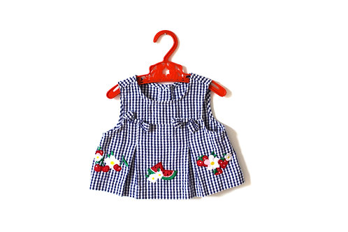 Vintage Girls Gingham Patch Top 3-6 Months