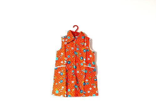 Vintage Floral Orange Blooms Girls Dress 1970's 5-6 Years