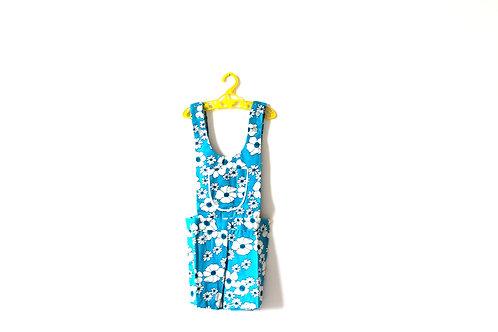 Vintage Blue Flower Summer Dungarees Romper 6 Years