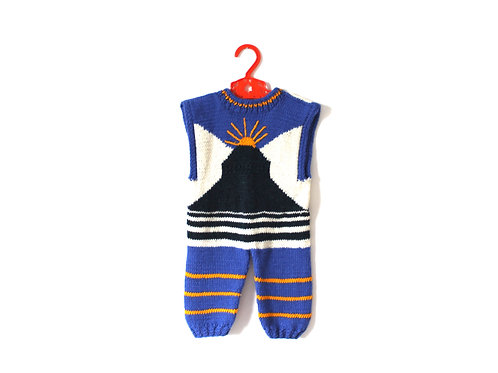 Vintage 1970's Knitted Romper Sun Stripes 1-2 Yrs