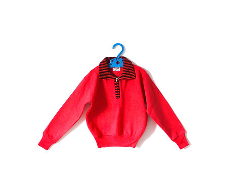 Vintage 1960's Red Jumper with Striped Black Collar 4-5 Years