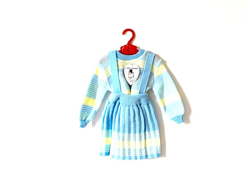 Vintage Pastel Knitted Two Piece Outfit 3-4 Years