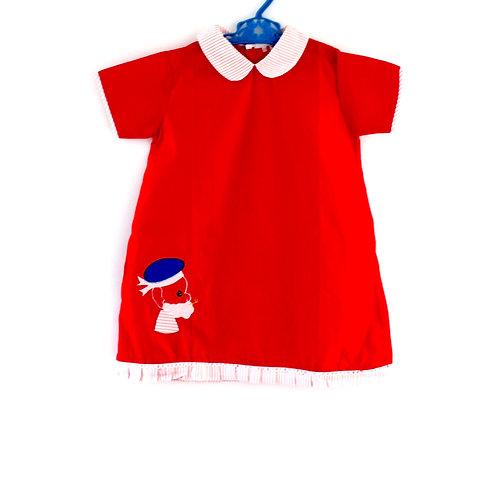 Vintage 1960's 4-5 Yrs Sailor Girls Dress Red and Blue Spring Summer