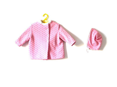 Vintage Pink 1960's Winter Pram Coat with Bonnet 12 Months