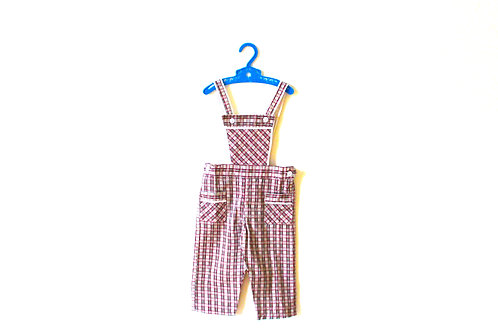 Vintage Checked Red 1950's Baby Dungarees 6-9 Months